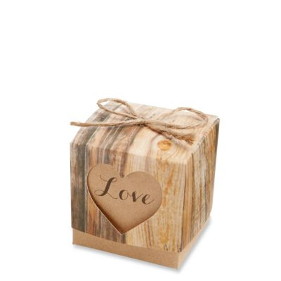 Hearts in Love Rustic Favor Boxes