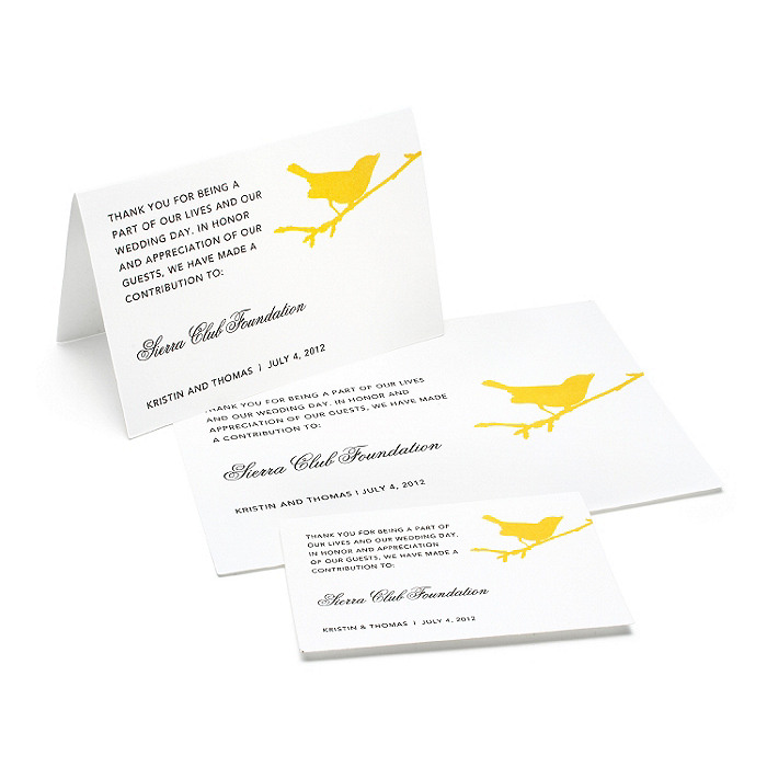 Charity Wedding Favors - Bird (Gold)