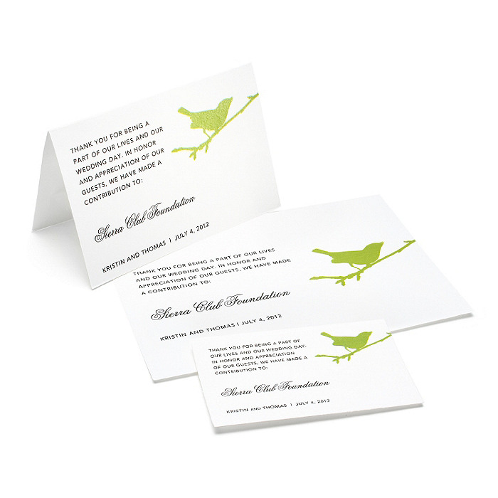 Charity Wedding Favors - Bird (Grass)