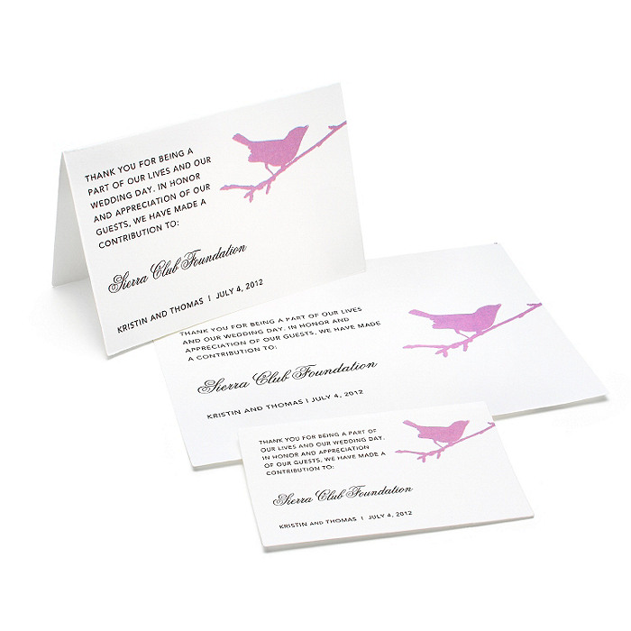 Charity Wedding Favors - Bird (Lavender)
