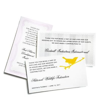 Charity Wedding Favors - Place Cards