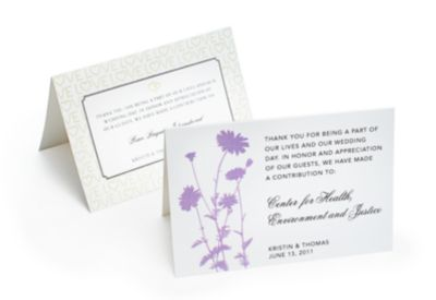 Charity Wedding Favors - Tent Cards