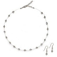 Pearl & Crystal Necklace and Earrings Set