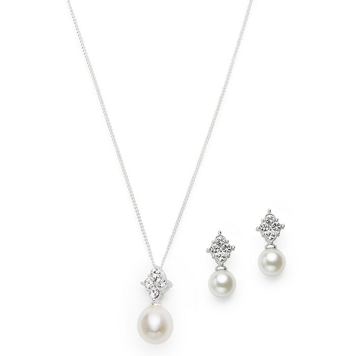 Pearl Drop Pendant & Earrings Set