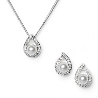 Pearl Loop Pendant & Earrings Set