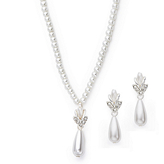 Faux Pearl Teardrop Necklace and Earring Set