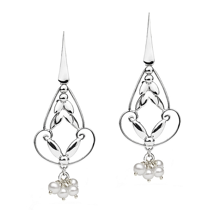 Romance Earrings - Silver with Pearl
