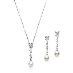 butterfly pearl drop pendant & earring set