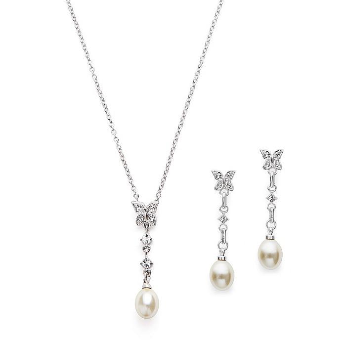 Butterfly Pearl Drop Pendant & Earring Set