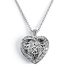 Rhinestone Heart Locket Necklace