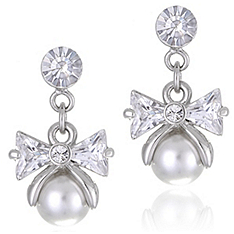 Pearl Drop Bow Earrings