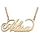 Filigree Name Necklace - Gold-tone