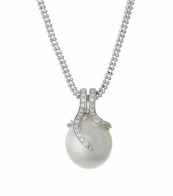 Thomas Laine White Gold 11mm Pearl and Diamond Necklace