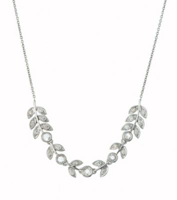 Thomas Laine White Gold and Rose Cut Diamond Leaf Necklace