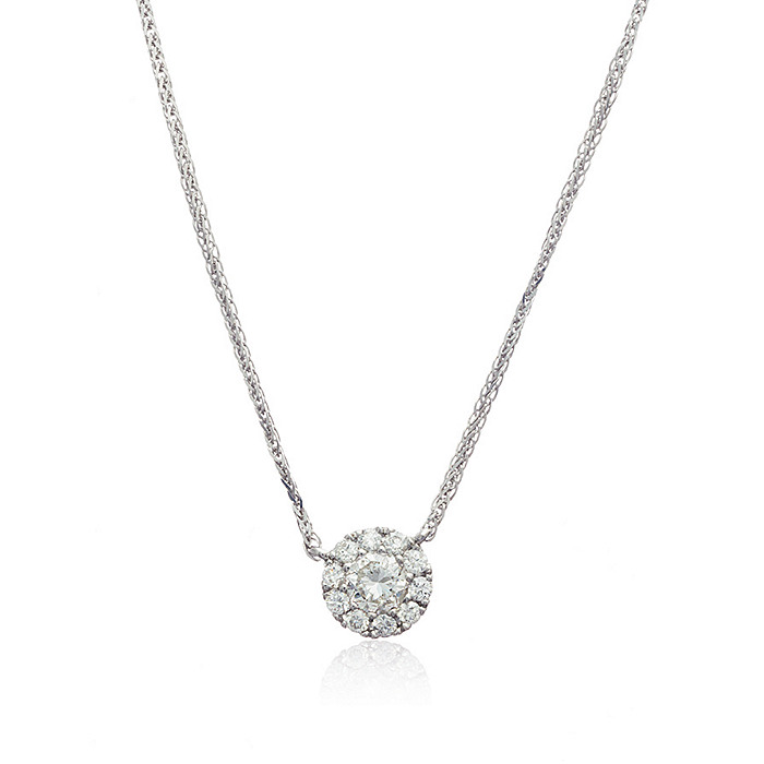 Thomas Laine Diamond Halo Pendant Necklace