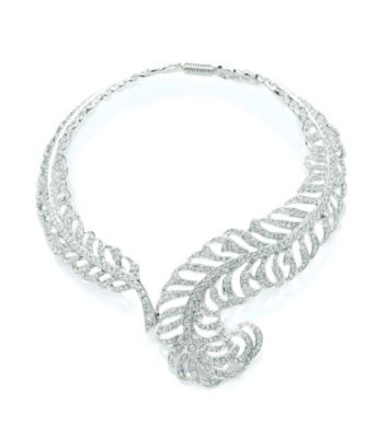 Thomas Laine Silver Swarovski Crystal Feather Necklace