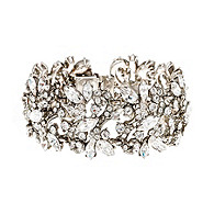 Thomas Laine Bridal Wide Floral Crystal Bracelet