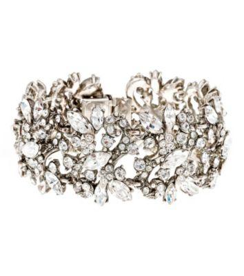 Thomas Laine Bridal Wide Floral Crystal Bracelet