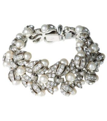Thomas Laine Bridal Crystal and Pearl Linked Bracelet