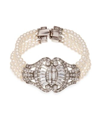 Thomas Laine Bridal 4 Row Pearl and Crystal Sweetheart Bow Bracelet