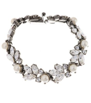 Thomas Laine Bridal Pearl and Floral Crystal Bracelet