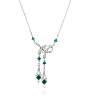 Thomas Laine Bridal Deco Ribbon Emerald Necklace
