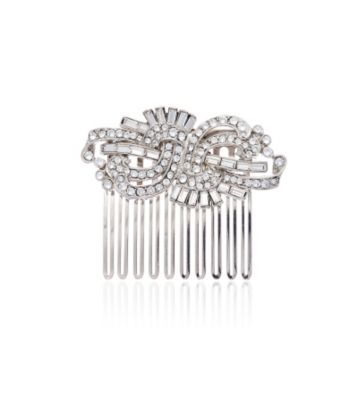 Thomas Laine Crystal Deco Swirl Hair Comb
