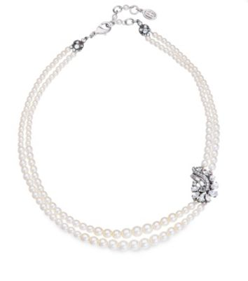 Thomas Laine Bridal Double Row Pearl and Crystal Garland Necklace