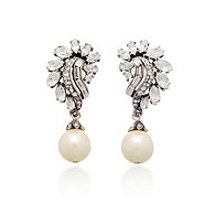 Thomas Laine Bridal Crystal Garland and Pearl Drop Earrings