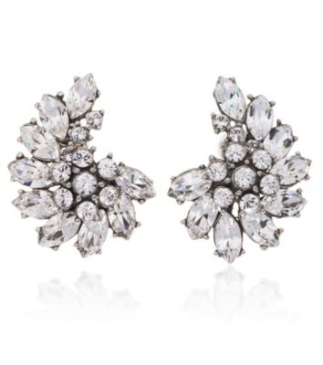 Thomas Laine Crystal Floral Cluster Bridal Earrings