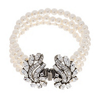 Thomas Laine Crystal Garland and Pearl Bridal Bracelet