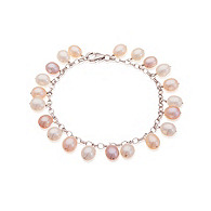 Thomas Laine Blush Bridal Freshwater Pearl Sterling Silver Bracelet