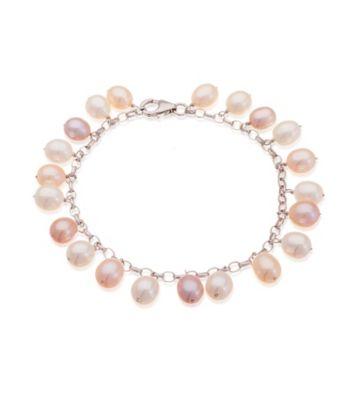 Thomas Laine Blush Bridal Freshwater Pearl Sterling Silver Bracelet