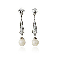 Thomas Laine Bridal Pearl and Crystal Earrings
