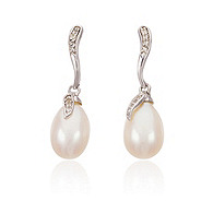 Thomas Laine Sterling Silver White Topaz Freshwater Pearl Drop Earrings