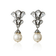Thomas Laine Bridal Crystal and Pearl Drop Earrings