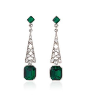 Thomas Laine Bridal Crystal and Emerald Deco Earrings