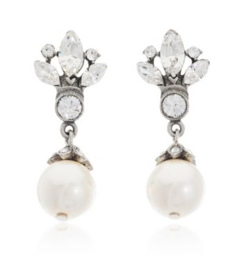 Thomas Laine Small Bridal Crystal and Pearl Drop Earrings