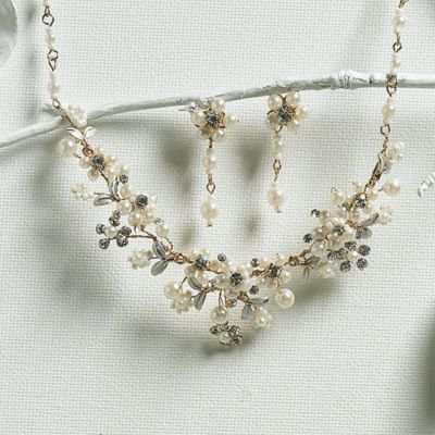 Garden Necklace & Earring Set - Ivory/Gold