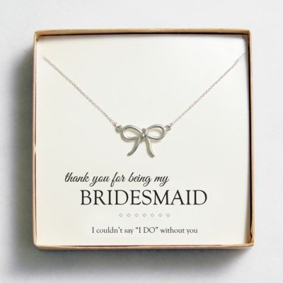Sweet Bow Necklace - Matte Silver