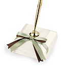 Two-Ribbon Custom Color Pen & Holder - Ivory