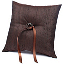 The Knot Colored Silk Ring Pillow - Chocolate