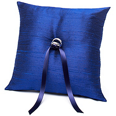 The Knot Colored Silk Ring Pillow - Navy