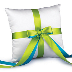 Two-Ribbon Custom Color Ring Pillow - White
