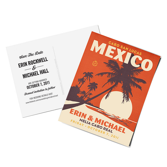 Personalized Save the Date Postcards - Palm Trees