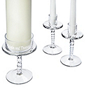 Glass Pedestal Unity Candle Stand Set