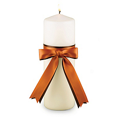 Two-Ribbon Custom Color Unity Candle - Ivory