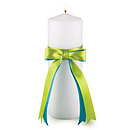 Two-Ribbon Custom Color Unity Candle - White